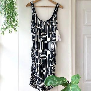 NEW ✨ Nicole Miller Silk Blend Dress Black White 8